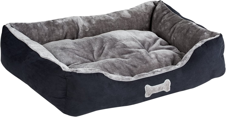 Me /& My Black /& Grey Medium Super Soft Dog Bed