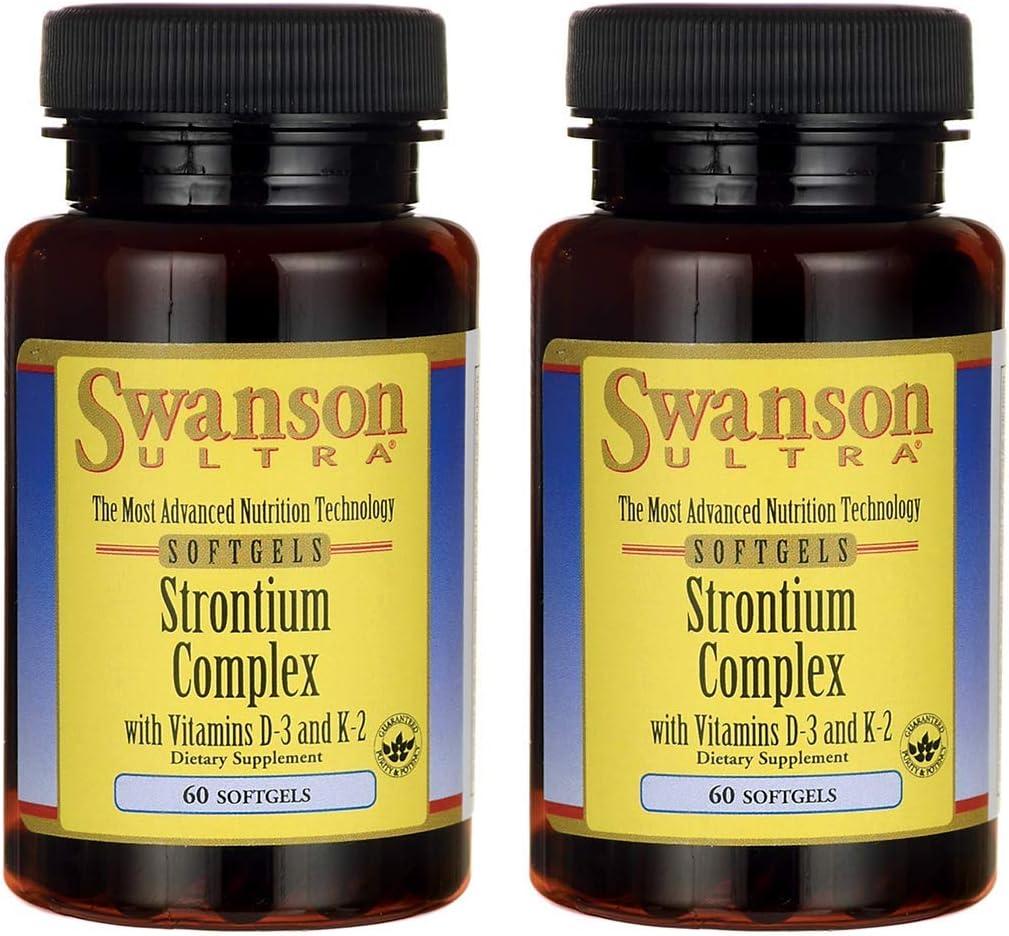 Swanson Strontium Complex with Vitamins D-3 & K-2 60 Sgels (2 Pack)
