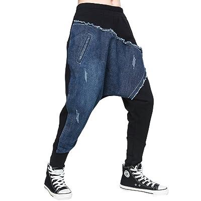 ELLAZHU Women Fashion Patchwork Elastic Waist Drop Crotch Harem Pants GY1545 L at Women's Clothing store