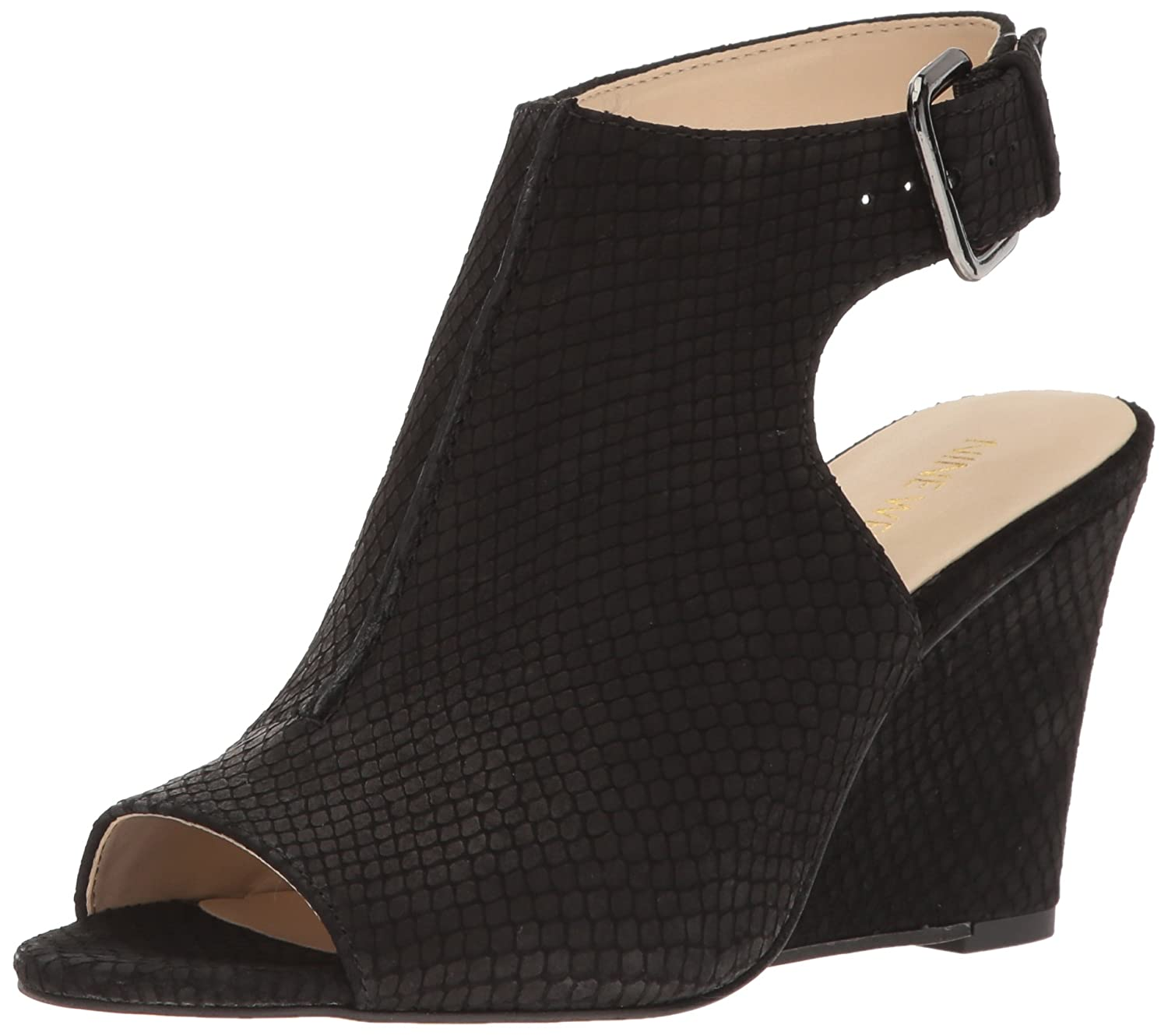Nine West Women's Gorana Nubuck Wedge Sandal B01LW1VH3T 5 B(M) US|Black