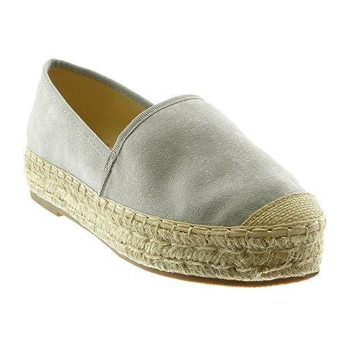 Angkorly - Zapatillas Moda Alpargatas Slip-on Flexible Plataforma Mujer Cuerda Trenzado Acabado Costura Pespunte Plataforma 3.5 CM: Amazon.es: Zapatos y ...