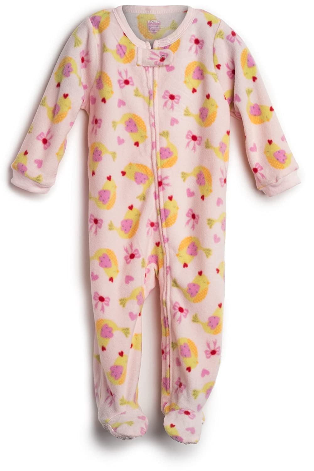 Elowel Baby Girls Footed Birds Pajama Sleeper Fleece (Size 6M-5Years) Fl-Birds