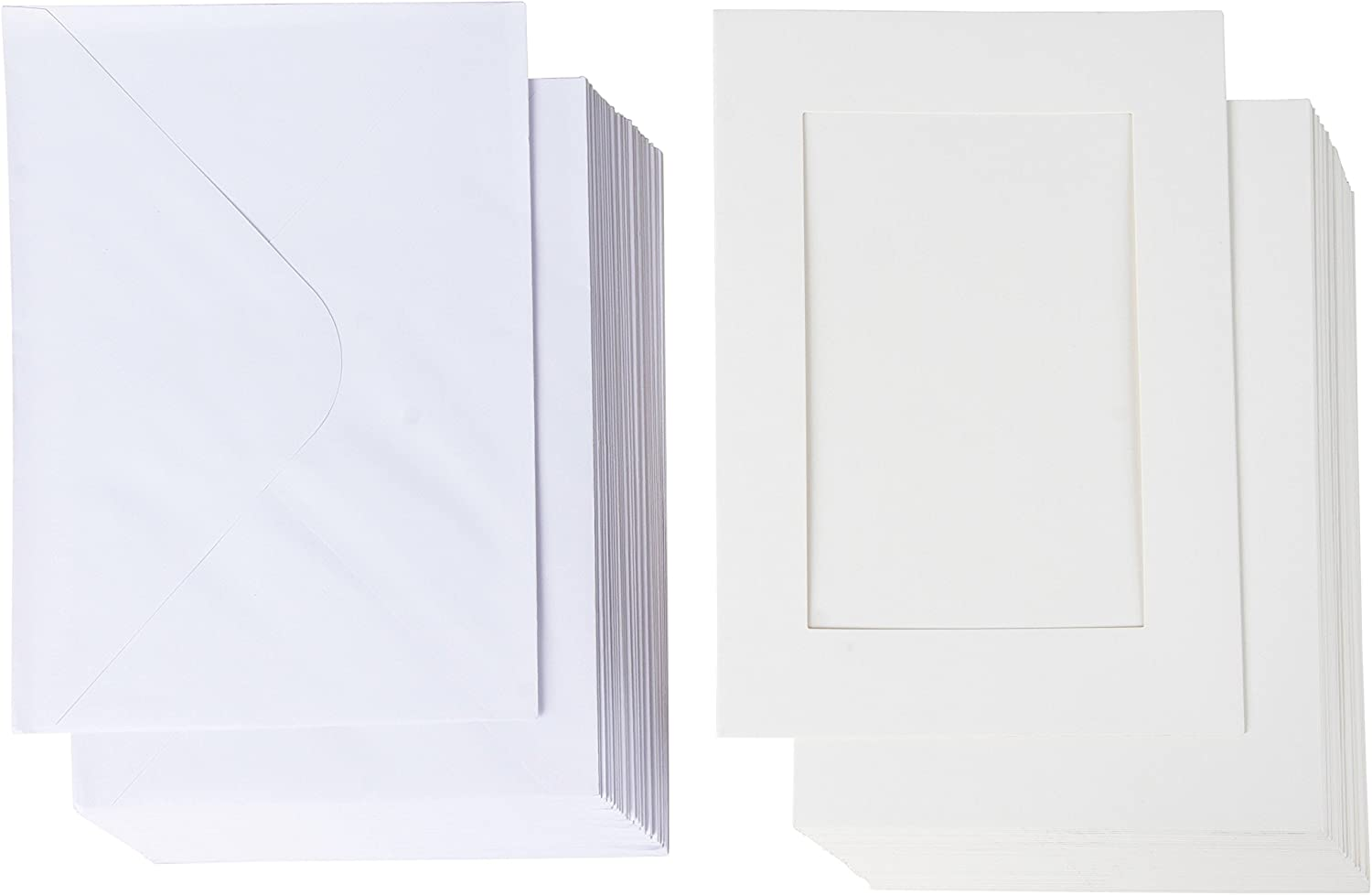 Photo Insert Note Cards - Includes Paper Picture Frames and Envelopes - White Paper Photo Mats, Photo Insert Greeting Cards (5.5 x 7.75 in, 36 Pack)