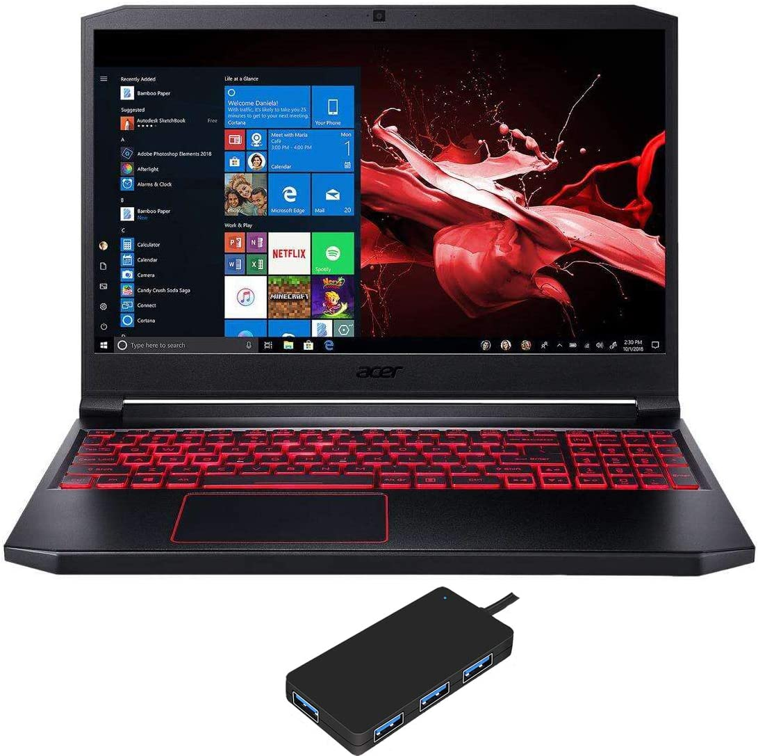 "Acer Nitro 7 AN715-51-73BU Gaming and Entertainment Laptop (Intel i7-9750H 6-Core, 8GB RAM, 256GB PCIe SSD + 500GB HDD, NVIDIA GTX 1650, 15.6"" Full HD (1920x1080), WiFi, Win 10 Home) with USB3.0 Hub"