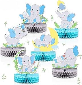 6 PCS Blue Elephant Honeycomb Centerpieces Baby Boy It's A Boy Table Decorations Blue Little Peanut Cutouts For Blue Elephant Theme Baby Shower Birthday Party Supplies