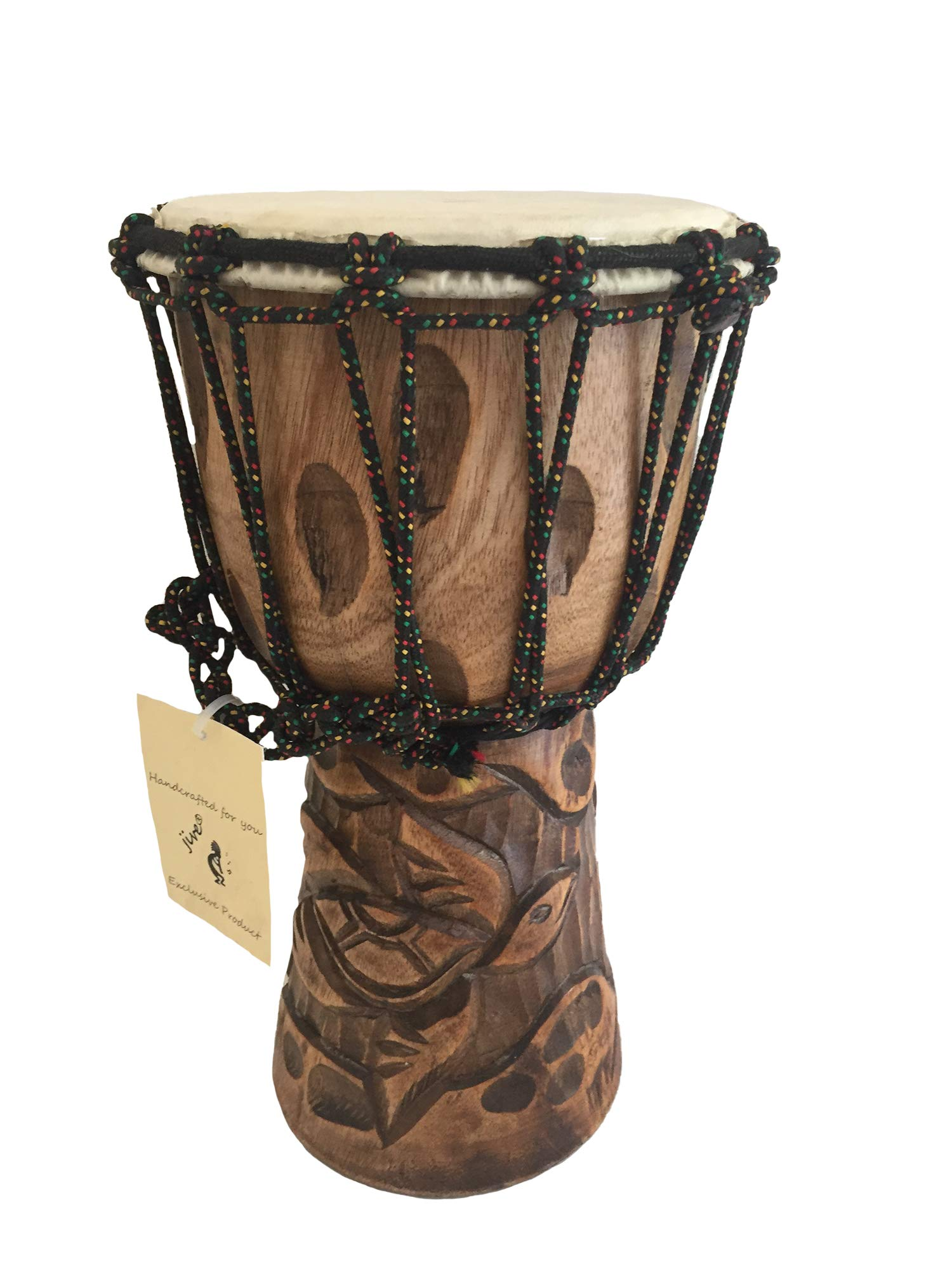 Djembe Drum Solid Wood Deep Carved Bongo Congo African Drum - 12'' HIGH MED SIZE - Professional Quality - NOT MADE IN CHINA - JIVE BRAND (Turtle)