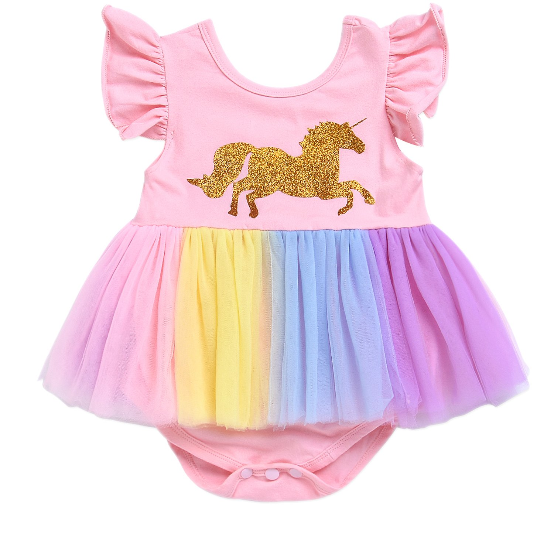 cfa9129c3 Amazon.com: Infant Toddler Baby Girls Tutu Dress Romper Print Unicorn  Ruffle Layered Rainbow Skirt Outfits Clothes: Clothing
