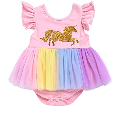 026000548519 HappyMA Infant Toddler Baby Girls Romper Tutu Dress Print Unicorn Floral  Ruffle Layered Rainbow Skirt Outfits