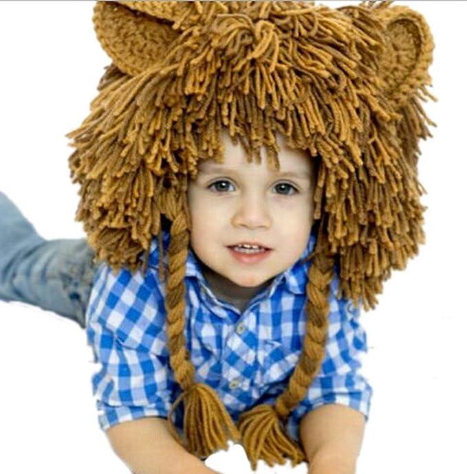 toyobuy bebé león Handcrafted Hip Hop peluca de lana de punto invierno cálido gorro de dibujos