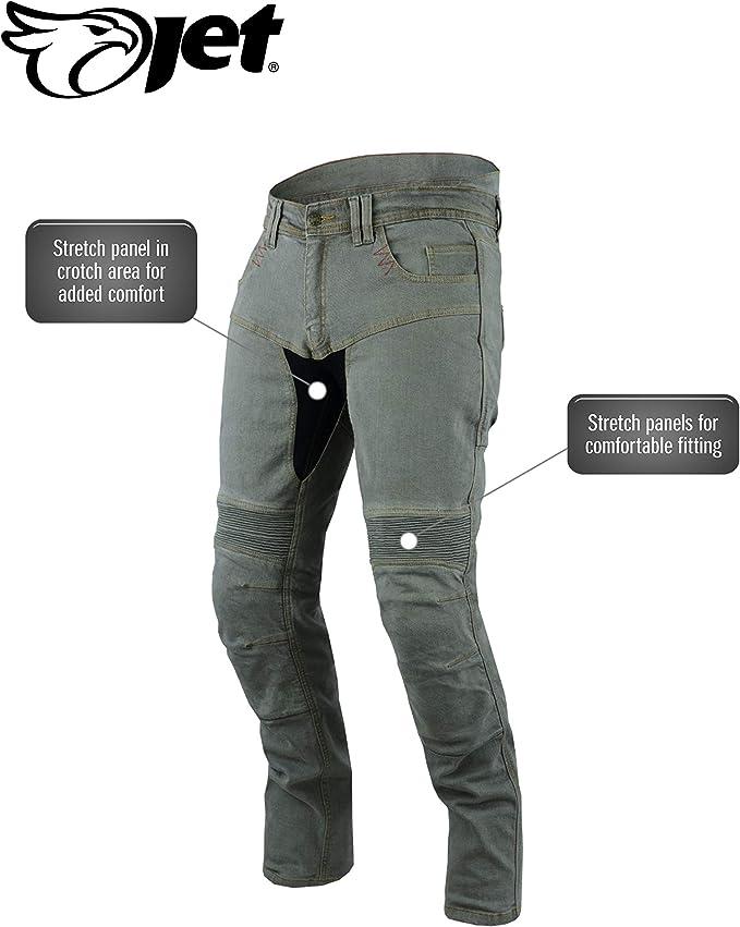 Gris, UK W38 L30 // EU 54 Short Jet Pantalon Moto Homme Jeans Kevlar Aramid avec Armure Tech Pro