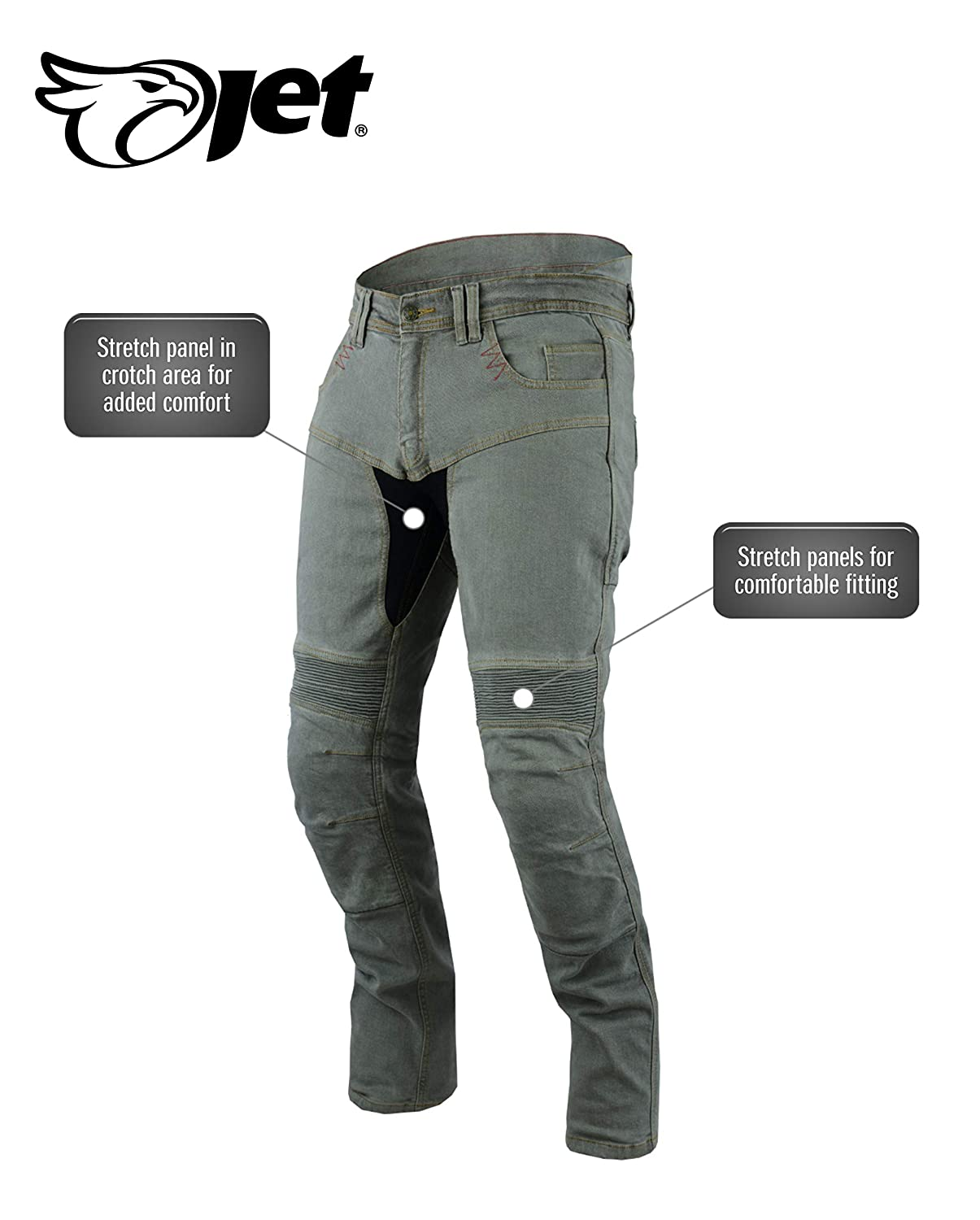 JET Motorcycle Jeans Kevlar Safety Trousers Aramid Lined CE Armoured Stretch Panels Tech Pro Grey, W 40 L 32