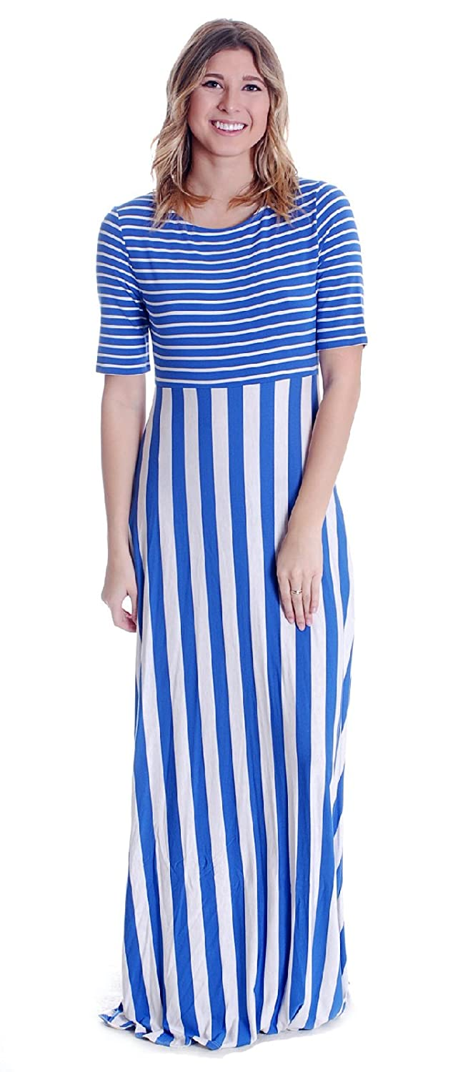 ce93c262407e Matilda Jane Women's The Road Ahead Maxi Dress in Blue/White Stripe, Small  at Amazon Women's Clothing store: