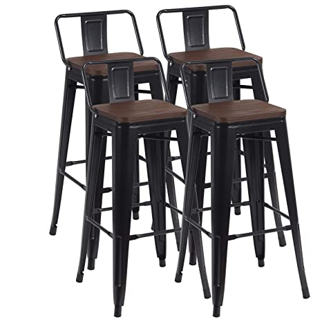 Amazing 30 Industrial Metal Bar Stools Set Indoor Outdoor Barstool Chair With Low Back Set Of 4 Black Machost Co Dining Chair Design Ideas Machostcouk