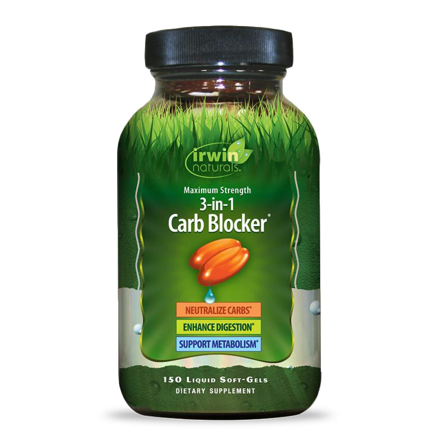 Irwin Naturals Maximum Strength 3-in-1 Carb Blocker - Neutralize Carbohydrates and Support Metabolism - 150 Liquid Softgels by Irwin Naturals