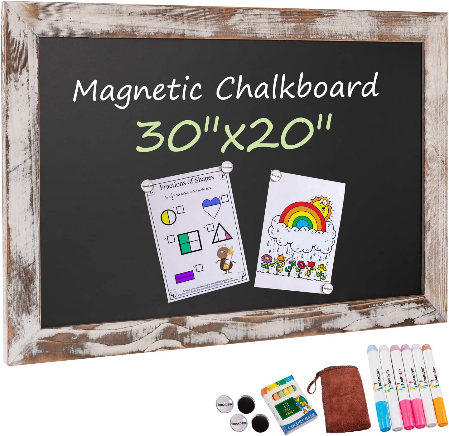 Board2by Rustic Wood Framed Magnetic Chalkboard 20 x 30, Large Hanging Chalk Board Sign for Kids, Non-Porous Wall Blackboard for Wedding Kitchen Restaurant Menu and Home with 4 Unique Magnets, White