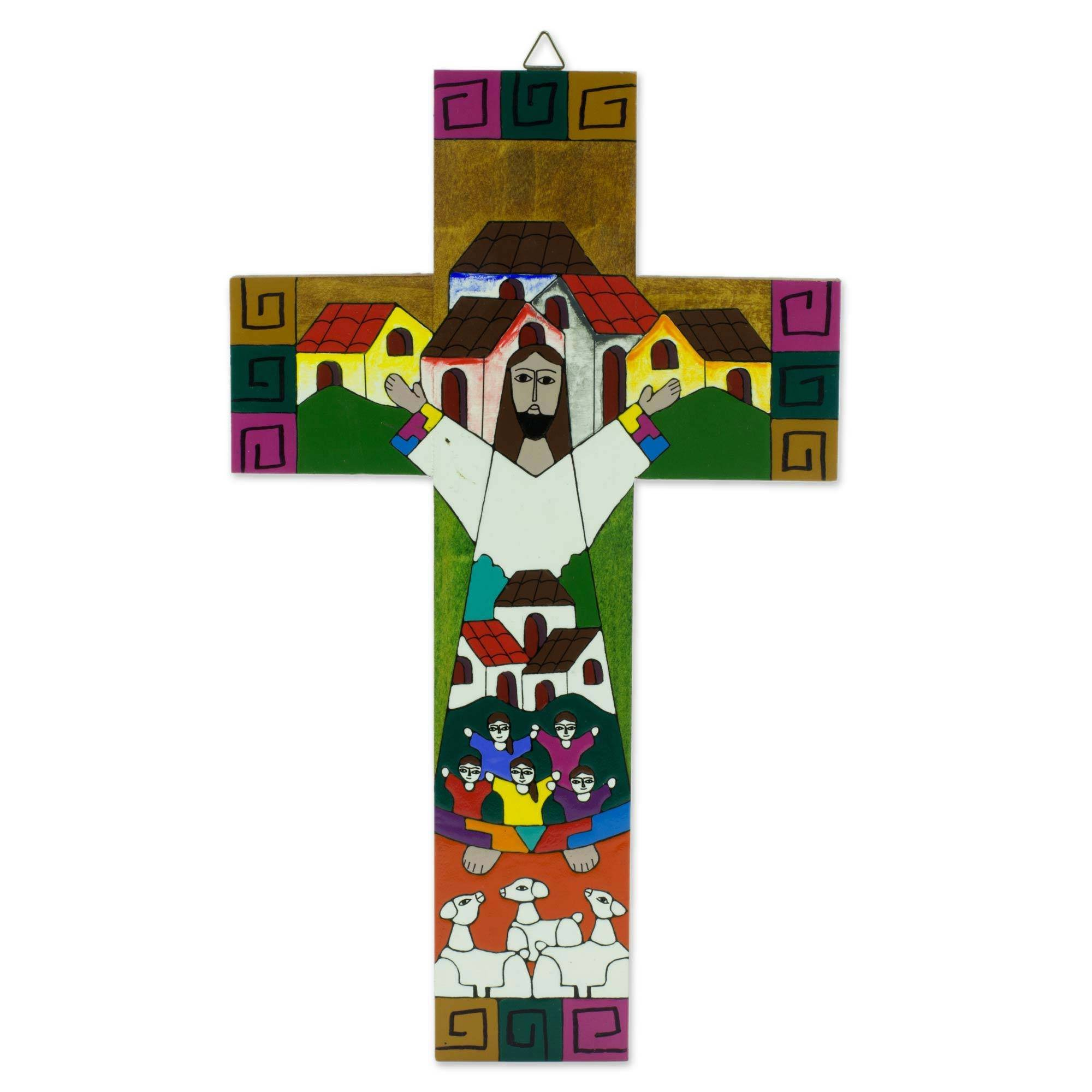 NOVICA Hand Painted Religious Pinewood Wall Cross, Community of Love'
