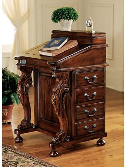 Hand-carved Solid Mahogany Antique Replica Davenport Desk Table - Amazon.com: Hand-carved Solid Mahogany Antique Replica Davenport