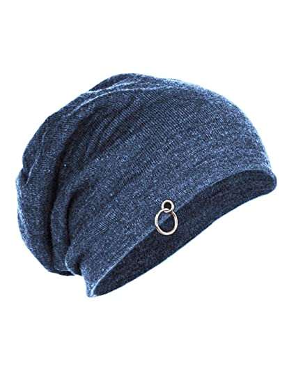 Buy Gajraj Cotton Steel Blue Slouchy Beanie Cap for Winter ec7381c38d4