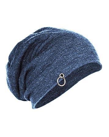 84fd044a797 Buy Gajraj Cotton Steel Blue Slouchy Beanie Cap for Winter