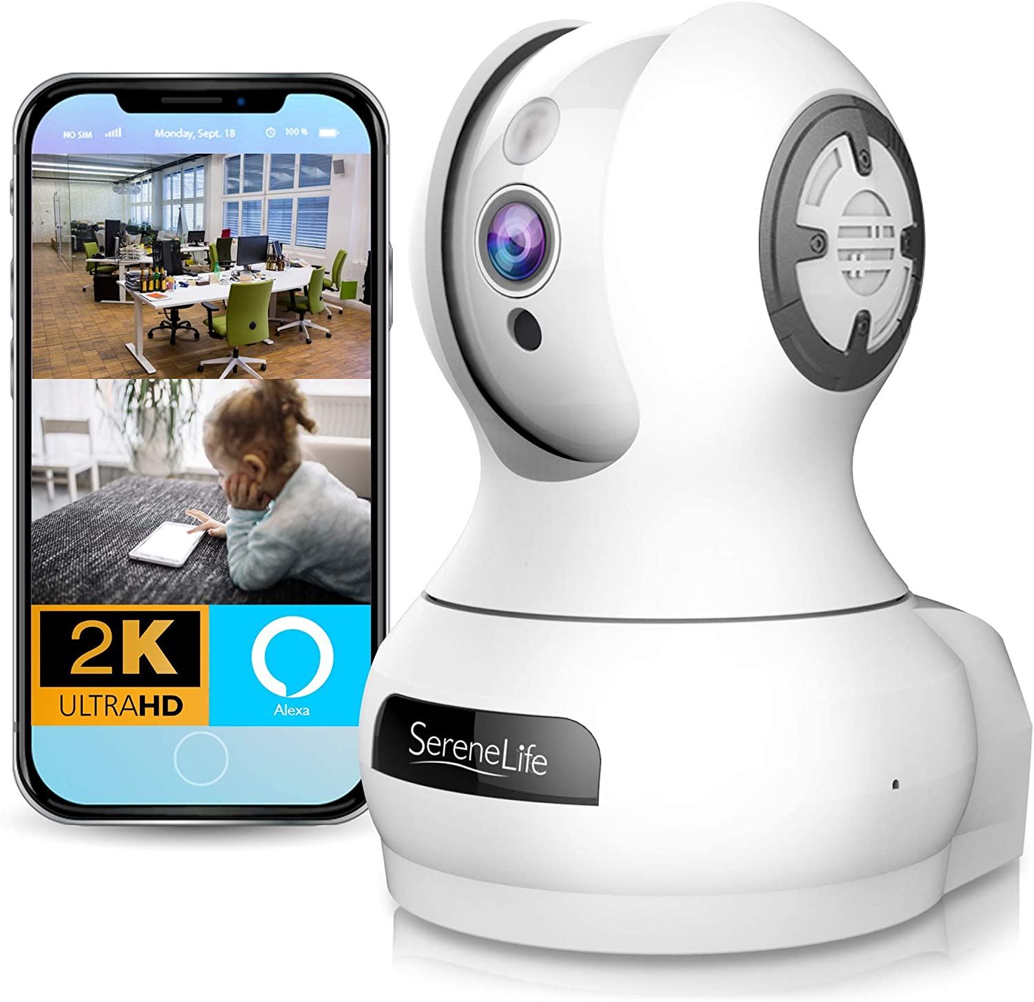 SereneLife 3MP Indoor Cloud Cam – Alexa Compatible – Face Detection Smart Tracking PTZ – Ultra HD 1536p Wireless Home Security Pet Monitoring w Motion Detect, Night Vision Video – IPCAMHD85
