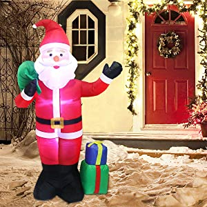 Lovezone 6ft Outdoor Inflatable Christmas Decorations - Built-in LED Lights Blow Up Santa Claus Christmas Yard Decorations for Indoor and Outdoor Garden Lawn Xmas Decor