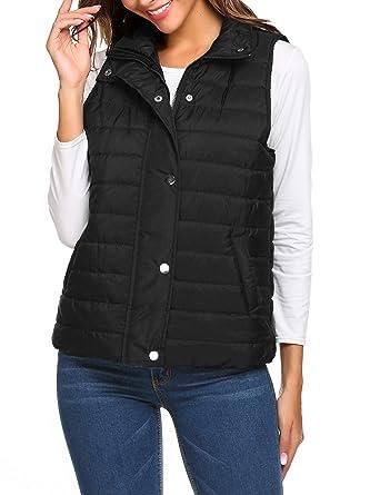 46c1dd5d839 Beyove Women's Outwear Ultra Lightweight Packable Puffer Down Vest Coat  black S