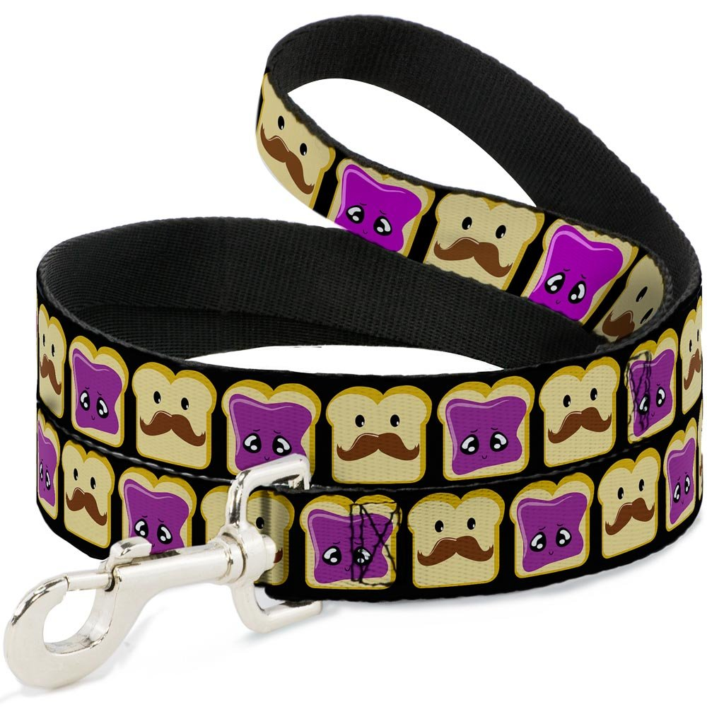 4 Feet Long 1\ Buckle-Down Pet Leash Peanut Butter w Mustache & Jelly 4 Feet Long 1  Wide