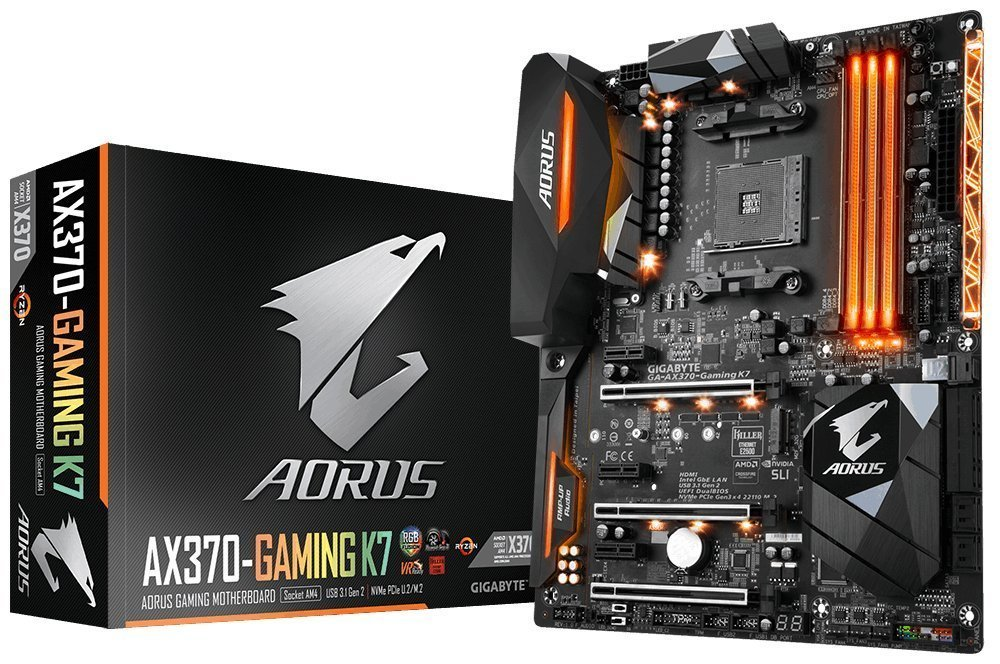 GIGABYTE AORUS GA-AX370-Gaming K7 AMD Ryzen AM4 X370 RGB FUSION SMART FAN 5 HDMI M.2 U.2 USB 3.1 Type-C ATX DDR4 Motherboard by Gigabyte