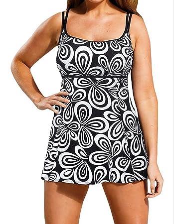 aaae037e4664 NAYOOTON BLZ Alta qualità Costumi da Bagno Donna Intero Nero Mare Costume  Premaman Taglia Forti Stile Gonna Abito da Spiaggia con Un Mutande XL-6XL   ...