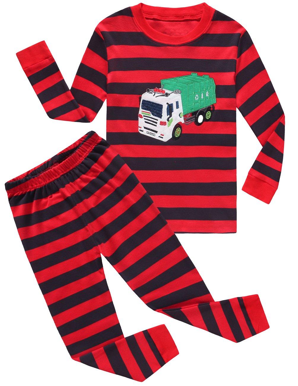 Boys Pajamas Garbage Truck 100% Cotton Toddler Pjs Kids Sleepwear Clothes Set Size5