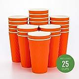 一次性热饮纸杯–hot 饮料杯纸茶杯–ripple 上无需袖–保温–批发–takeout 咖啡杯–restaurantware Tangerine Orange 16盎司