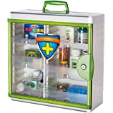 Glosen Wall Mounted and Portable Type 3 Layers Metal Storage Container with Child Safety Lock Household Medicine Cabinet Green (Light Green)