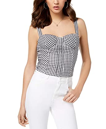 4364b2fe6f7e9d GUESS Smocked Gingham-Print Bustier (Jet Black Pure White