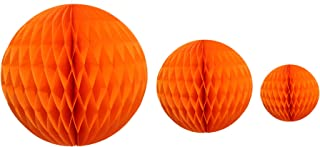 product image for Orange Honeycomb Balls, Set of 3 (12 inch, 8 inch, 5 inch)