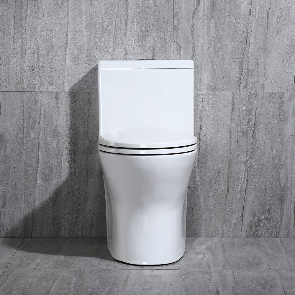 WOODBRIDGE Modern Design, Elongated One Piece Toilet Dual Flush 1.0/1.6 GPF,with Soft Closing Seat, White, T-0032 by Woodbridge
