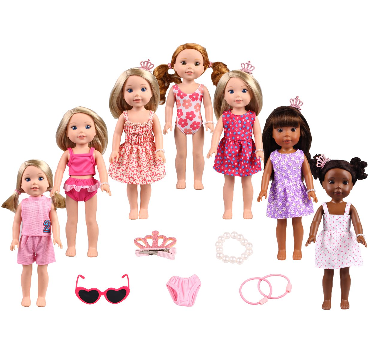 TSQSZ 14 inch 15 inch Doll Clothes&Accessories 7set Clothes fit American Girl Dolls Wellie wishers Clothes
