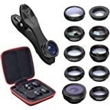 Cell Phone Camera Lens Kit: 10 in 1 Clip On Attachment Lenses for iPhone or Android Smartphone/Tablet - Fisheye, Wide Angle & Macro, Telephoto, 2 Kaleidoscope, CPL, Star, Radial & Flow Filter Lens