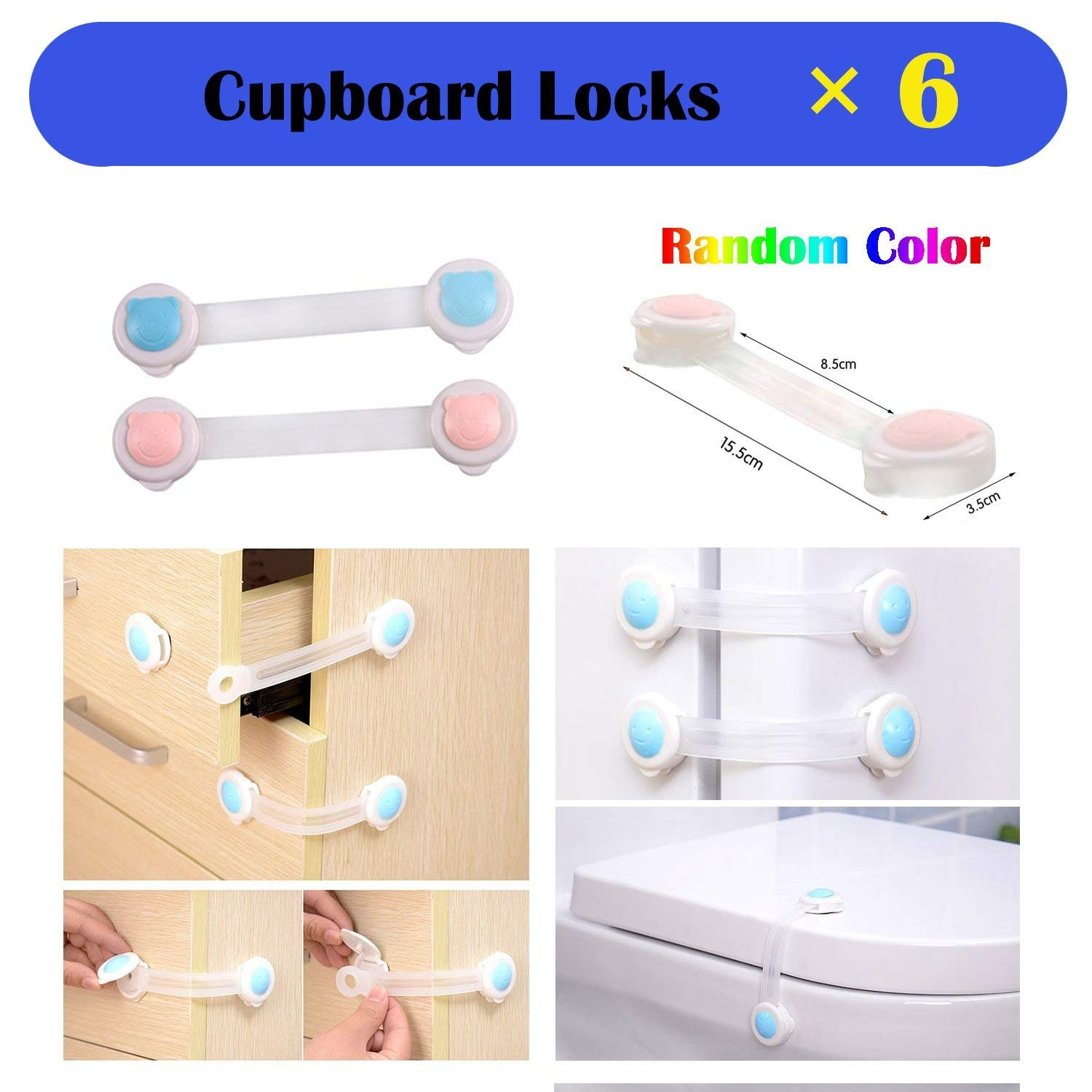 Baby Safety Proofing Kits (56 Pack) 20Pcs Outlet Covers +6Pcs Child Safety Proofing Cabinet Locks+ 20Pcs Corner Protector Edge Guard+ 6Pcs Children Cupboard Locks + 4Pcs Kids Safety Foam Door Stoppers by HOMER (Image #7)