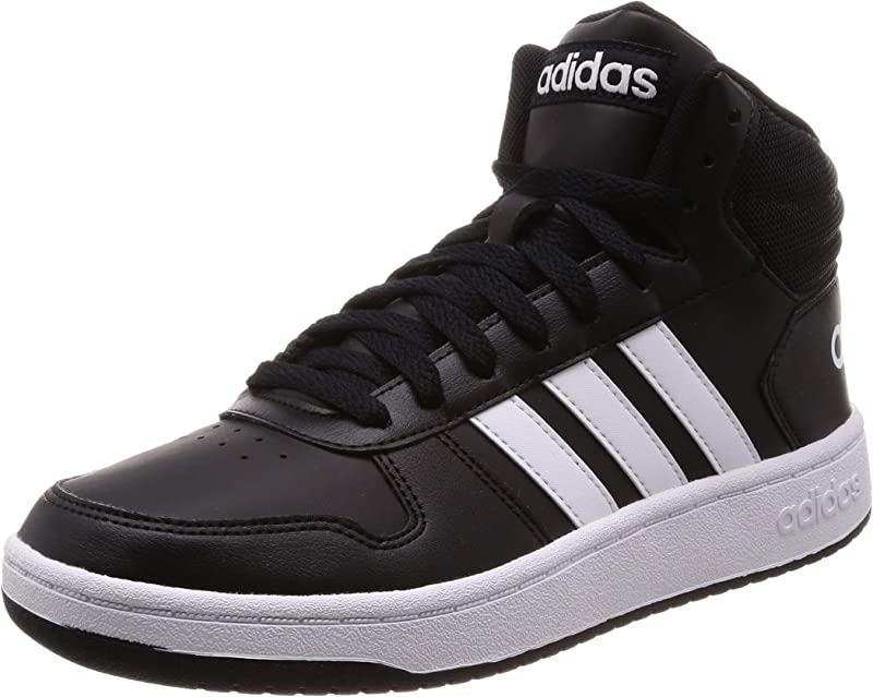 adidas Hoops 2.0 Mid Sneakers Basketball Schuhe Herren Schwarz mit weißen Streifen