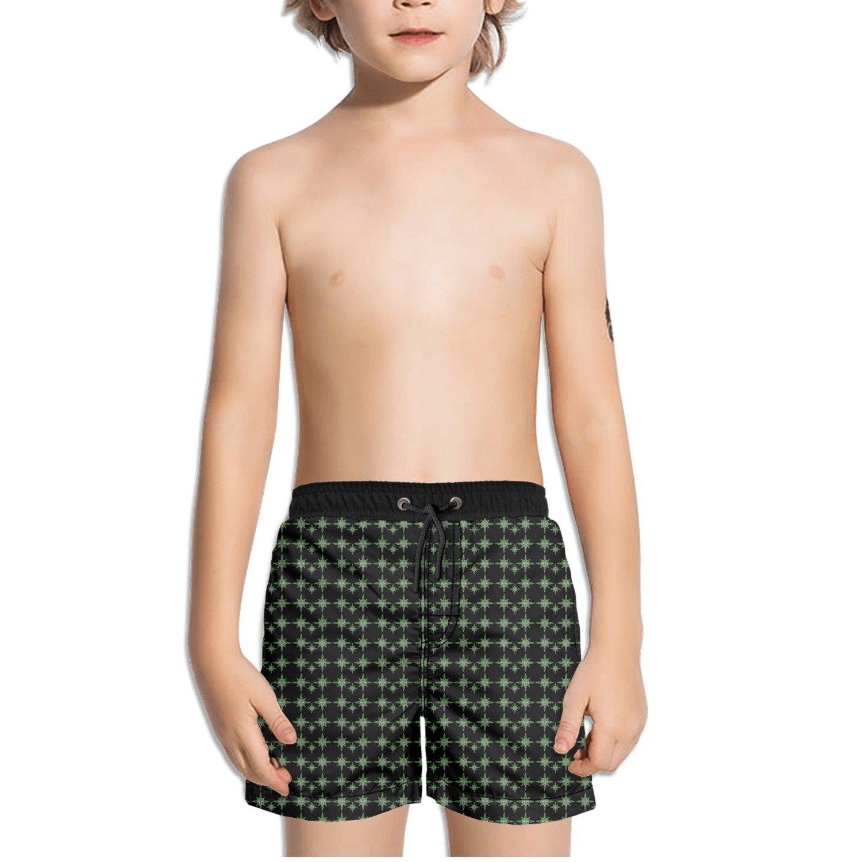 Trum Namii Boys Quick Dry Swim Trunks Green Marijuana with Snake/Â/Cross Shorts