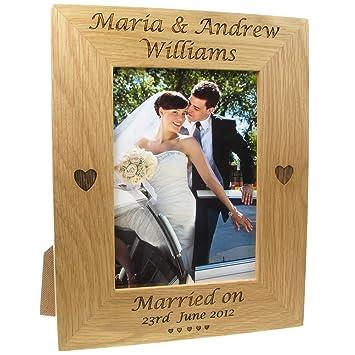 Wedding Gift Engraved Oak Photo Frame Bride And Groom