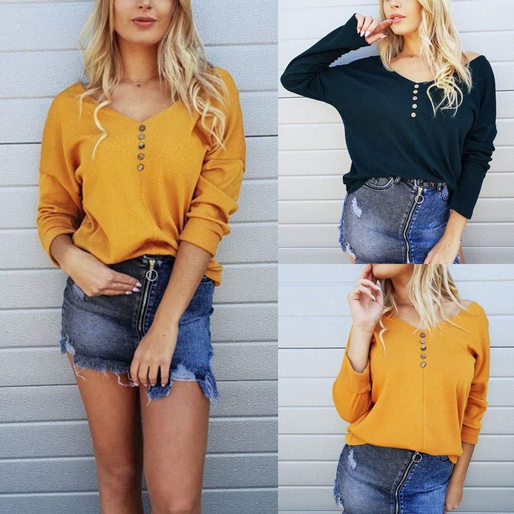 Kiminana Women Solid Button V-Neckline Long Sleeve Shirt Cold Shoulder Blouses Tops