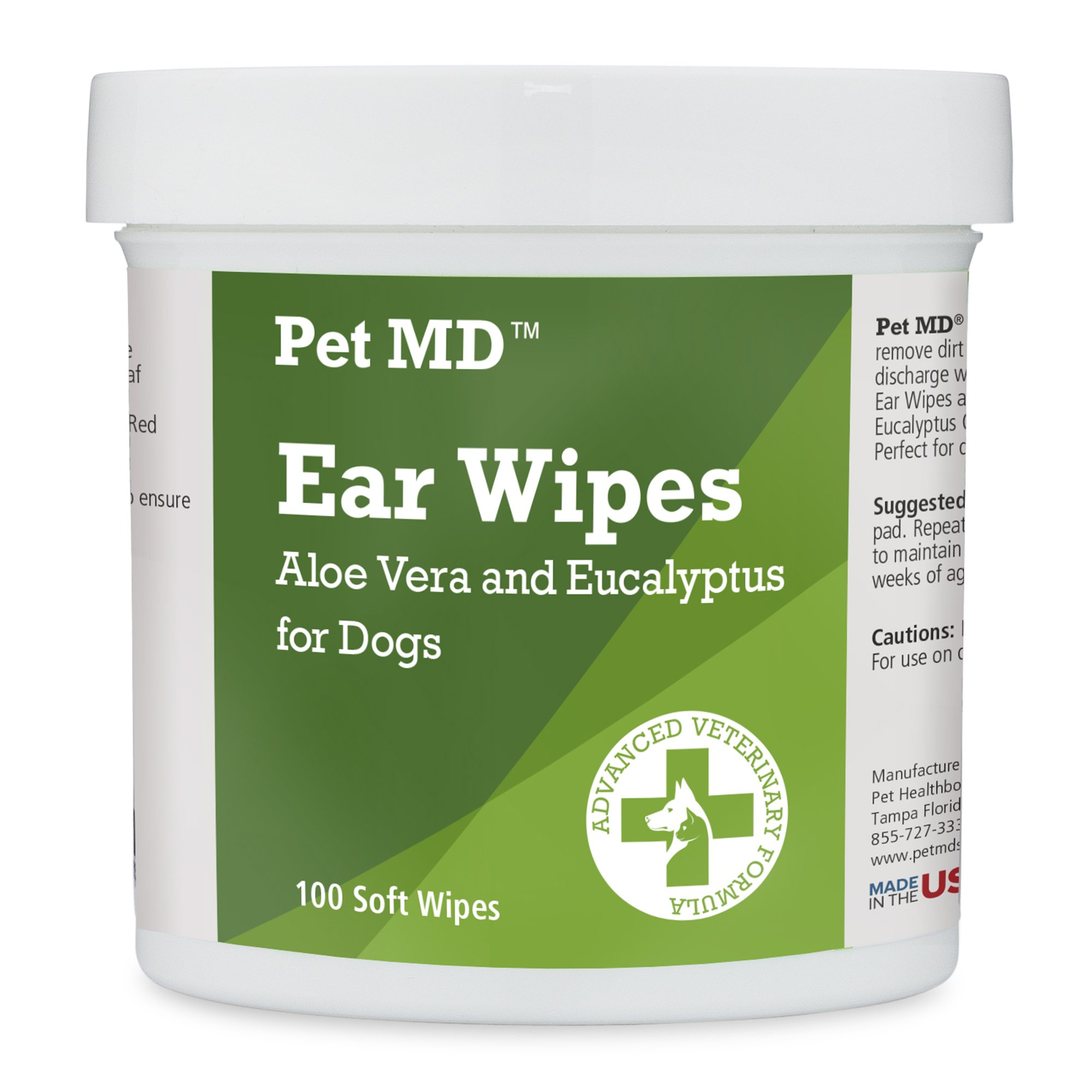 Pet MD - Dog Ear Cleaner Wipes - Otic Cleanser for Dogs to Stop Itching, Yeast and Mites with Aloe and Eucalyptus - 100 Count by Pet MD