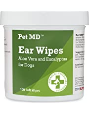 Pet MD - Dog Ear Cleaner Wipes - Otic Cleanser for Dogs to Stop Itching, Yeast and Mites with Aloe and Eucalyptus - 100 Count