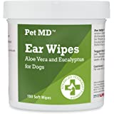 Pet MD - Dog Ear Cleaner Wipes - Otic Cleanser for Dogs to Stop Ear Itching, and Infections with Aloe and Eucalyptus - 100 Co