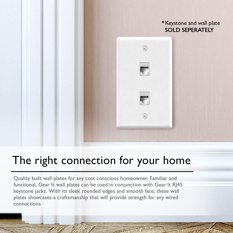 Ethernet Wall Plate Gearit 10 Pack 2 Port Cat6 Rj45 Wiring Jack Keystone White Home Improvement