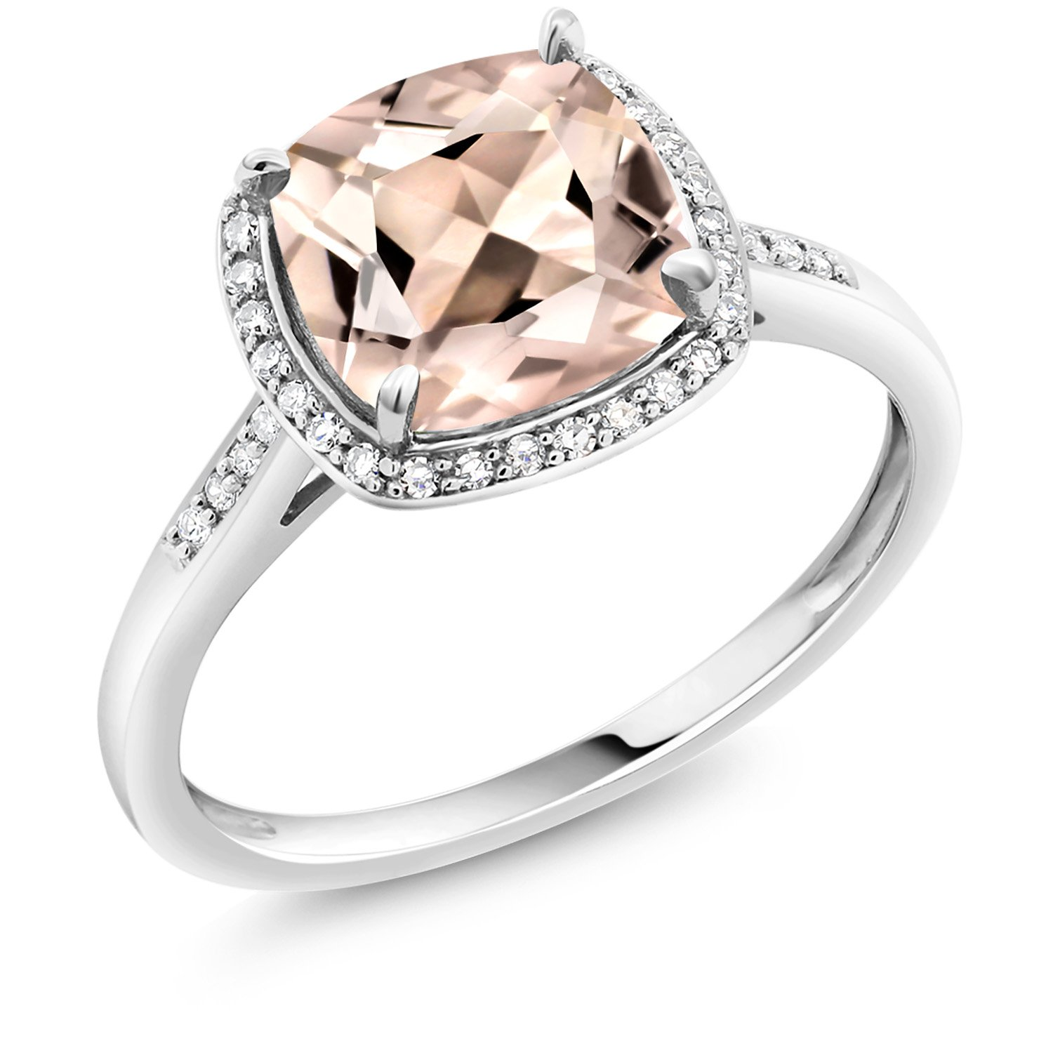 Gem Stone King 10K White Gold Ring 1.88 Ct Cushion Peach Morganite with Diamond Accent (Size 7) by Gem Stone King