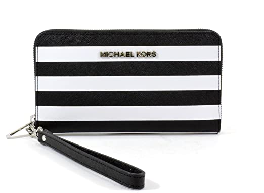 c3be3663ef1172 Michael Kors Jet Set Travel Stripe Large Coin Multifunction Phone Iphone  Case & Wristlet in Black & White Saffiano Leather: Amazon.ca: Cell Phones &  ...