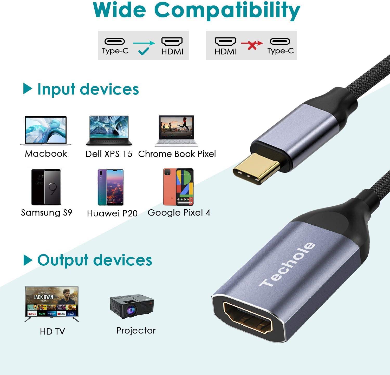 iPad PRO Compatibile con MacBook PRO 2019//2018 Cavo Adattatore da Type c a HDMI in Alluminio Techole Adattatore USB C a HDMI 4K@60Hz Surface Book 2 ECC. Samsung Galaxy S10//S9//S9+//S8 MacBook Air