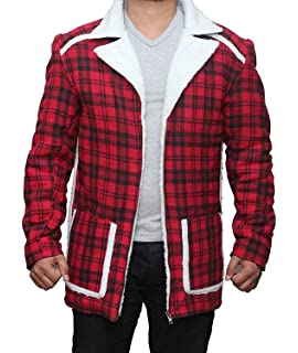 f18ec4d9c06b The American Fashion Red Flannel Shearling Jacket - Checkered Style ...